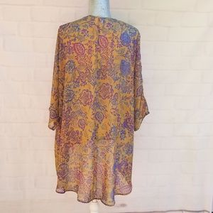 LuLaRoe Sweaters - LulaRoe Lindsay Sheer Floral High Low Cardigan